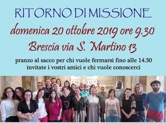 Ritorno di missione, domenica 20 ottobre